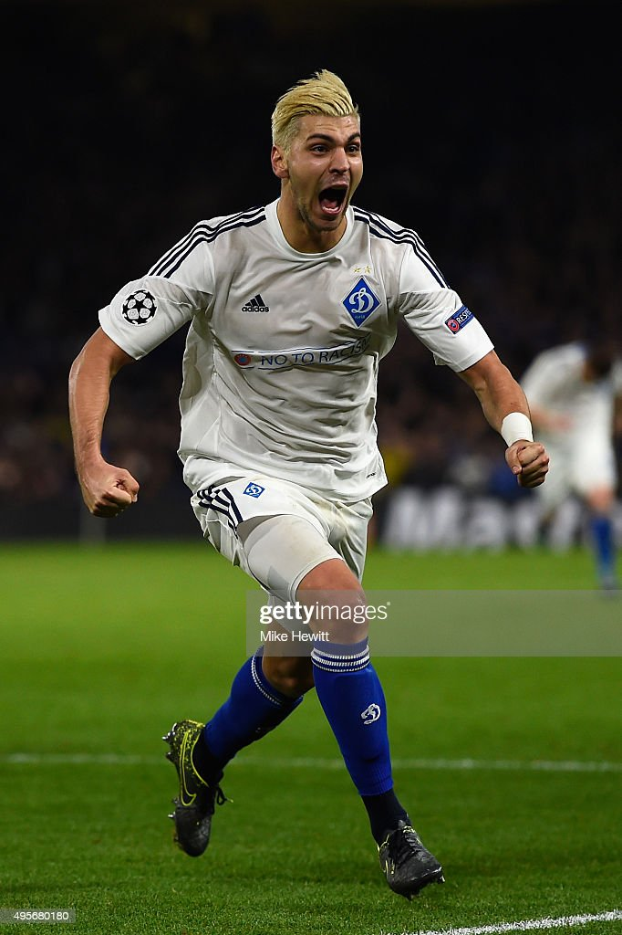 Aleksandar Dragovic of Dynamo Kyiv celebrates scoring his side's first goal during the UEFA Champions League Group G match between Chelsea FC and FC Dynamo Kyiv at Stamford Bridge on November 4, 2015 in London, United Kingdom.