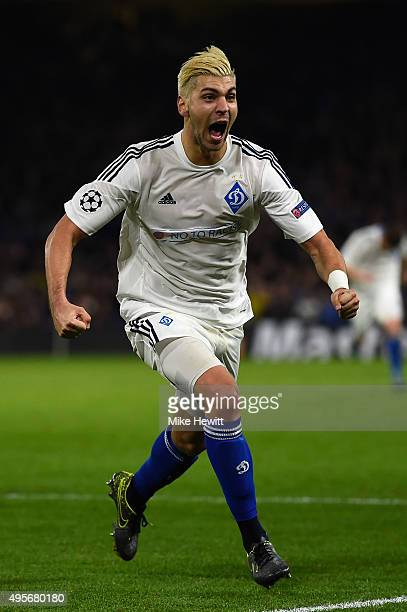 Aleksandar Dragovic of Dynamo Kyiv celebrates scoring his side's first goal during the UEFA Champions League Group G match between Chelsea FC and FC...