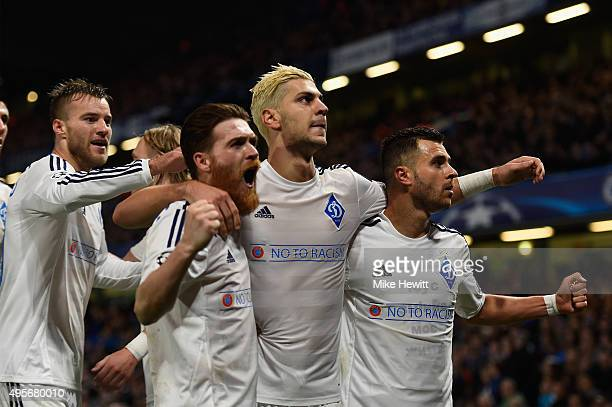 Aleksandar Dragovic of Dynamo Kyiv celebrates with his team mates after scoring his side's first goal during the UEFA Champions League Group G match...