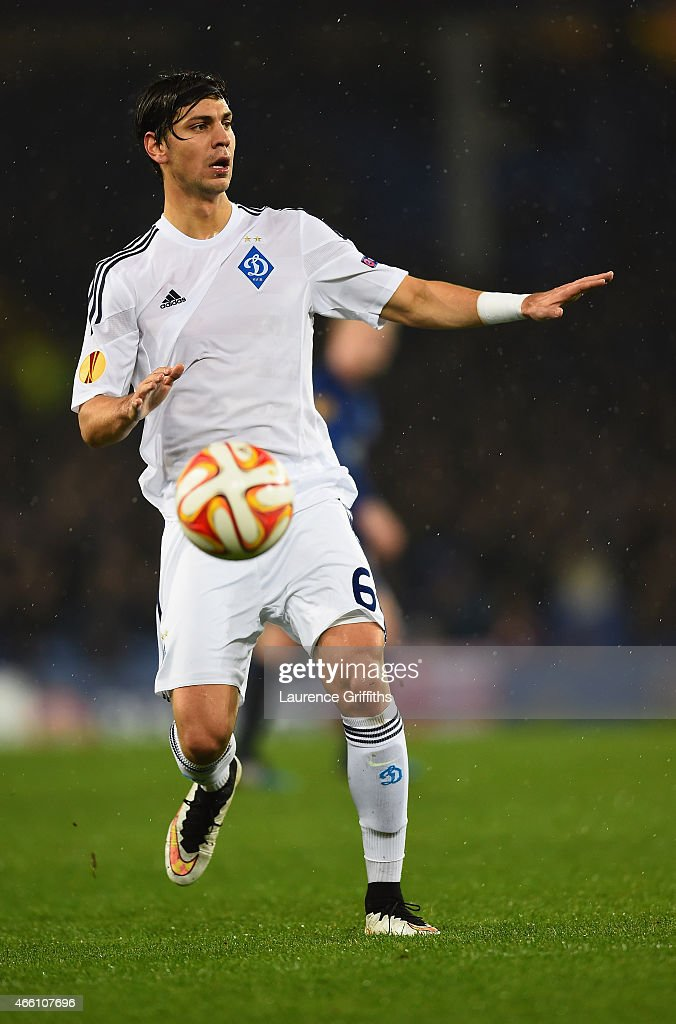 Aleksandar Dragovic of Dynamo Kyiv in action during the UEFA Europa League Round of 16 match between Everton and FC Dynamo Kyiv on March 12, 2015 in Liverpool, United Kingdom.
