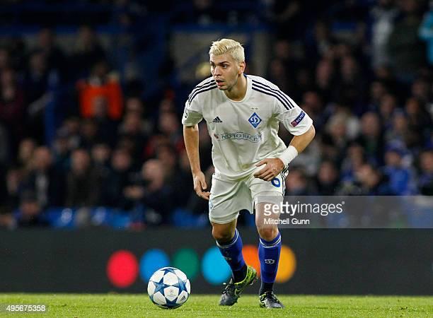 Aleksandar Dragovic of Dynamo Kyiv runs with the ball during the Champions League match between Chelsea and Dynamo Kyiv at Stamford Bridge on...