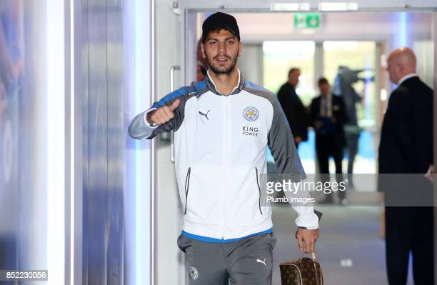 Aleksandar Dragovic of Leicester City arrives at King Power Stadium ahead of the Premier League match between Leicester City and Liverpool at King...