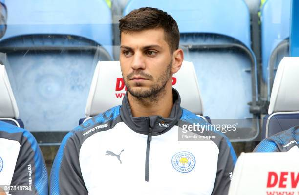 Aleksandar Dragovic of Leicester City on the bench at John Smith's Stadium ahead of the Premier League match between Huddersfield Town and Leicester...