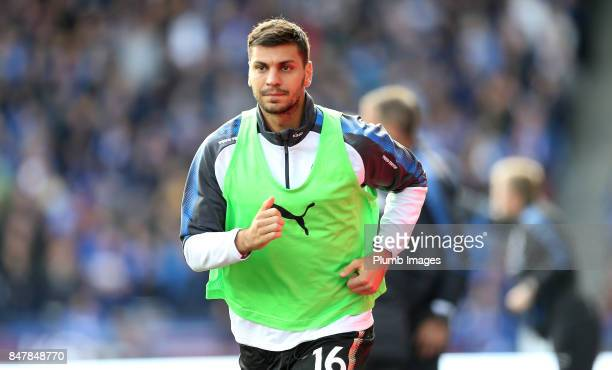 Aleksandar Dragovic of Leicester City warms up from the bench during the Premier League match between Huddersfield Town and Leicester City at John...