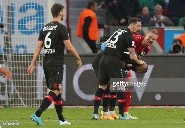 Aleksandar Dragovic Roberto Hilbert Oemer Toprak and Goalkeeper Bernd Leno of Leverkusen looks on during the Bundesliga match between Bayer 04...