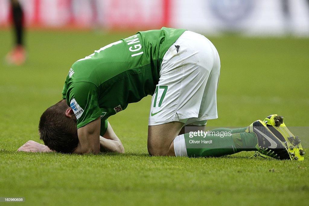 Aleksandar Ignjovski of Bremen looks dejected during the Bundesliga match between SV Werder Bremen and FC Augsburg at Weser Stadium on March 2, 2013 in Bremen, Germany.