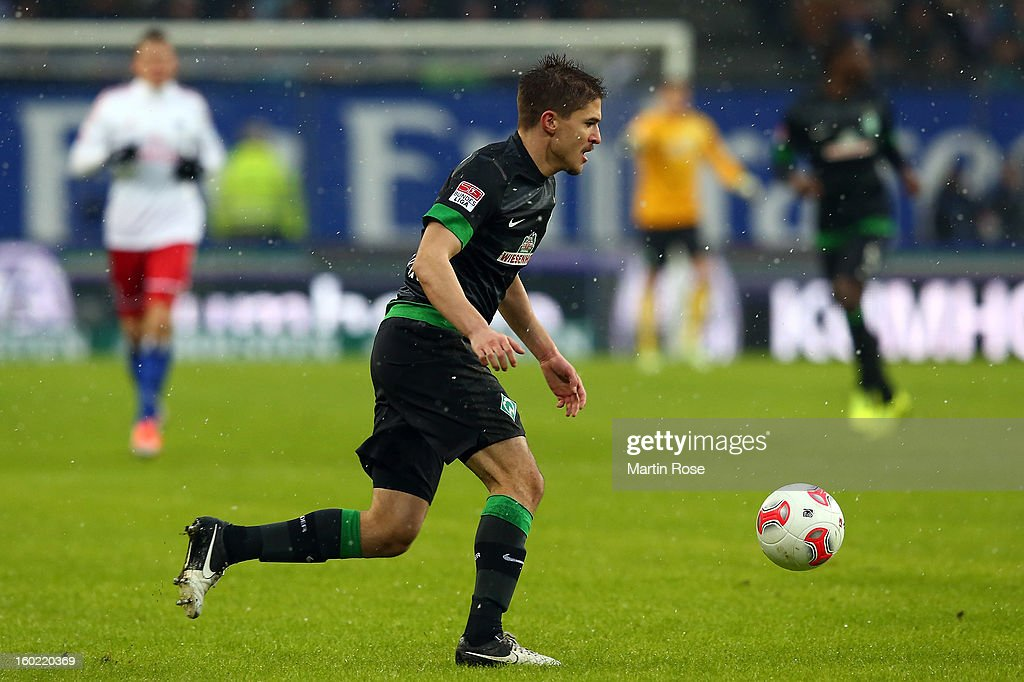 Aleksandar Ignjovski of Bremen runs with the ball during the Bundesliga match between Hamburger SV and SV Werder Bremen at Imtech Arena on January 27, 2013 in Hamburg, Germany.