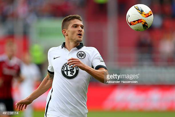 Aleksandar Ignjovski of Frankfurt runs with the ball during the Bundesliga match between FC Ingolstadt and Eintracht Frankfurt at Audi Sportpark on...