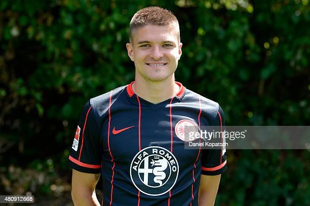Aleksandar Ignjovski poses during the Eintracht Frankfurt team presentation on July 15 2015 in Frankfurt am Main Germany