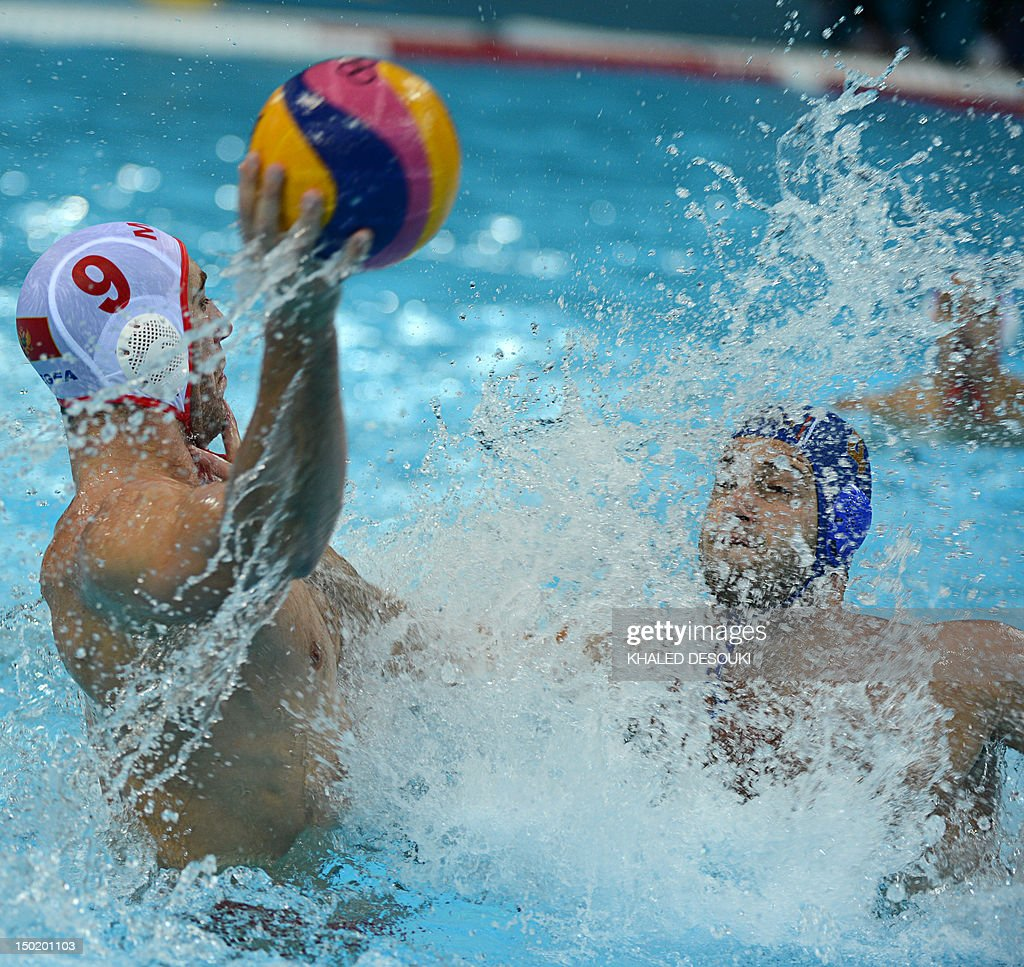 Aleksandar Ivovic of Montenegro is challenged by Vanja Udovicic of Serbia during the men's water polo bronze medal match Montenegro vs Serbia at the...