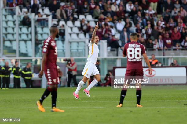 Aleksandar Kolarov celebrates after scoring his goal during the Serie A football match between Torino Fc and As Roma As Roma wins 10 over Torino Fc