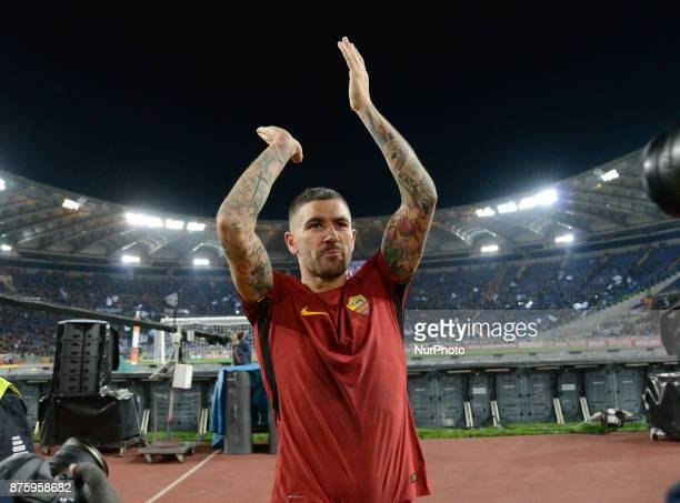 Aleksandar Kolarov celebrates during the Italian Serie A football match between AS Roma and SS Lazio at the Olympic Stadium in Rome on november 18...