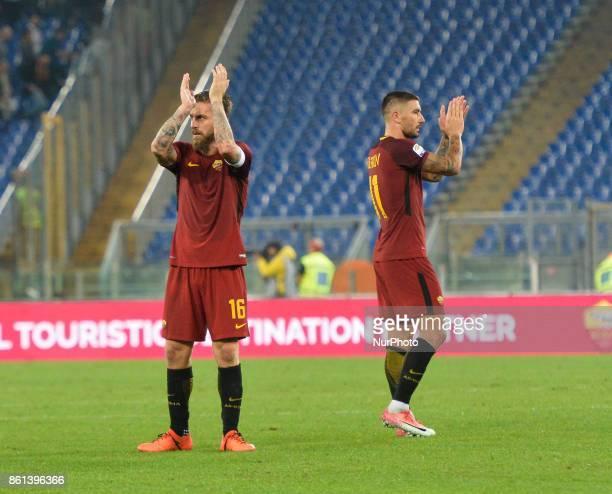Aleksandar Kolarov Daniele De Rossi during the Italian Serie A football match between AS Roma and SSC Napoli at the Olympic Stadium in Rome on...