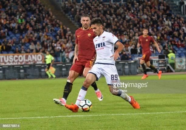 Aleksandar Kolarov Giovanni Crociata during the Italian Serie A football match between AS Roma and FC Crotone at the Olympic Stadium in Rome on...