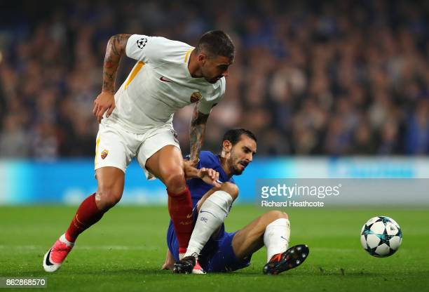 Aleksandar Kolarov of AS Roma and Davide Zappacosta of Chelsea battle for possession during the UEFA Champions League group C match between Chelsea...