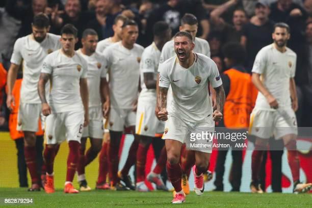 Aleksandar Kolarov of AS Roma celebrates after Edin Dzeko of AS Roma scores a goal to make it 23 during the UEFA Champions League group C match...