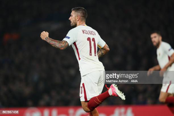 Aleksandar Kolarov of AS Roma celebrates after scoring a goal to make it 21 during the UEFA Champions League group C match between Chelsea FC and AS...