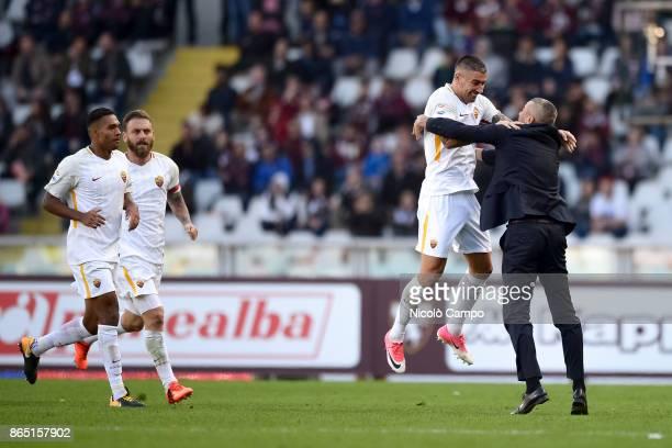 Aleksandar Kolarov of AS Roma celebrates after scoring the winning goal during the Serie A football match between Torino FC and AS Roma AS Roma won...