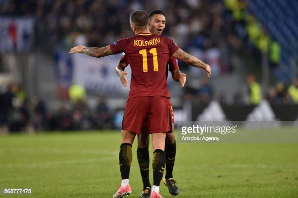 Aleksandar Kolarov of AS Roma celebrates after the UEFA Champions League Group C soccer match between AS Roma and Chelsea FC at Stadio Olimpico in...