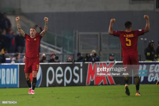 Aleksandar Kolarov of AS Roma celebrates at full time during the UEFA Champions League group C match between AS Roma and Chelsea FC at Stadio...