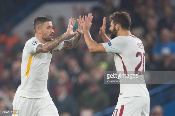 Aleksandar Kolarov of AS ROMA celebrates his goal with Federico Fazio during the UEFA Champions League Group C match between Chelsea FC and AS Roma...