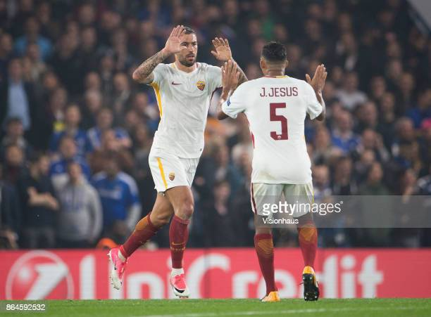 Aleksandar Kolarov of AS ROMA celebrates his goal with Juan Jesus during the UEFA Champions League Group C match between Chelsea FC and AS Roma at...