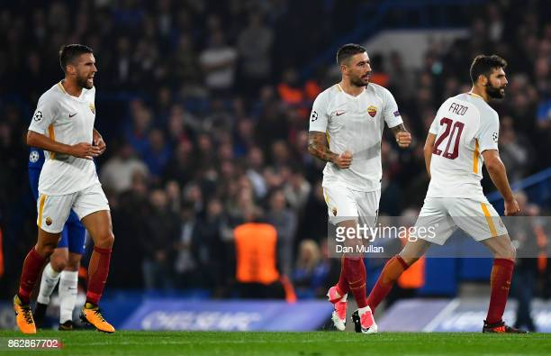 Aleksandar Kolarov of AS Roma celebrates scoring his sides first goal during the UEFA Champions League group C match between Chelsea FC and AS Roma...