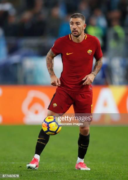 Aleksandar Kolarov of AS Roma during the Italian Serie A match between AS Roma v Lazio at the Stadio Olimpico on November 18 2017 in Rome Italy