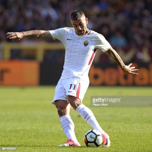 Aleksandar Kolarov of AS Roma during the Serie A match between Torino FC and AS Roma at Stadio Olimpico di Torino on October 22 2017 in Turin Italy