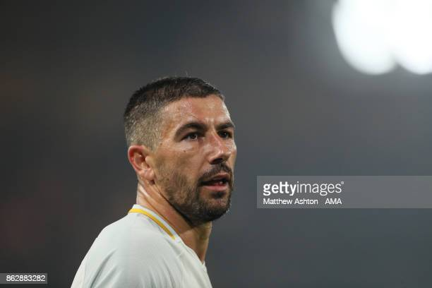 Aleksandar Kolarov of AS Roma during the UEFA Champions League group C match between Chelsea FC and AS Roma at Stamford Bridge on October 18 2017 in...