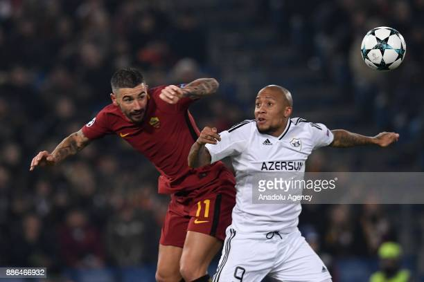 Aleksandar Kolarov of AS Roma in action against Dino Dlovu of Qarabag FK during the UEFA Champions League Group C soccer match between AS Roma and...