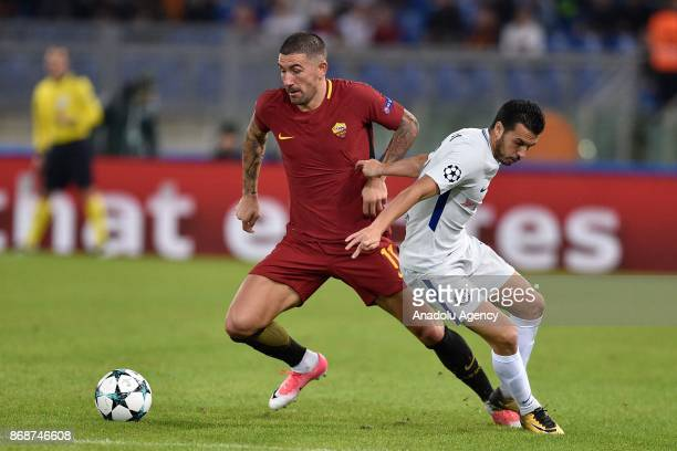 Aleksandar Kolarov of AS Roma in action against Pedro of Chelsea FC during the UEFA Champions League Group C match between AS Roma and Chelsea FC at...