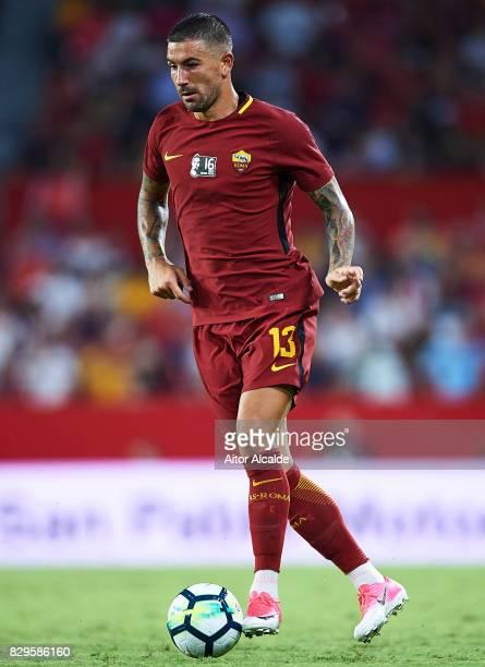 Aleksandar Kolarov of AS Roma in action during a Pre Season Friendly match between Sevilla FC and AS Roma at Estadio Ramon Sanchez Pizjuan on August...