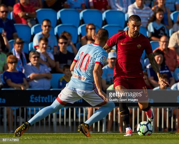 Aleksandar Kolarov of AS Roma in action during the preseason friendly match between Celta de Vigo and AS Roma at Balaidos Stadium on August 13 2017...