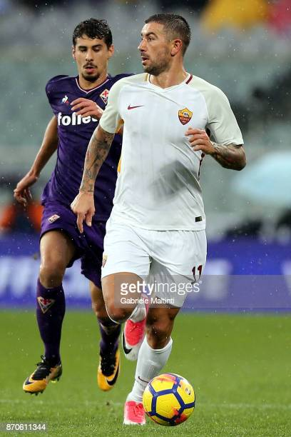 Aleksandar Kolarov of AS Roma in action during the Serie A match between ACF Fiorentina and AS Roma at Stadio Artemio Franchi on November 5 2017 in...