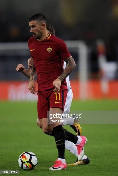 Aleksandar Kolarov of AS Roma in action during the Serie A match between AS Roma and FC Crotone at Stadio Olimpico on October 25 2017 in Rome Italy
