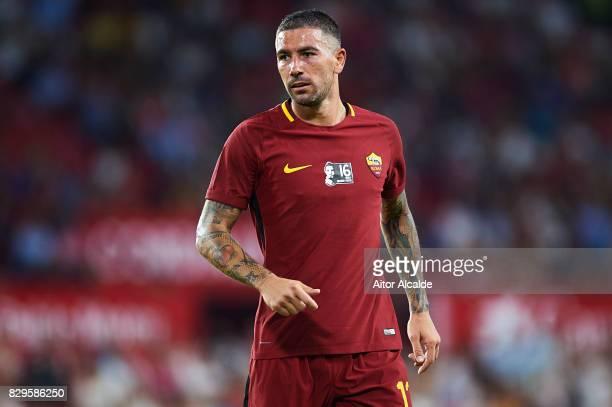 Aleksandar Kolarov of AS Roma looks on during a Pre Season Friendly match between Sevilla FC and AS Roma at Estadio Ramon Sanchez Pizjuan on August...