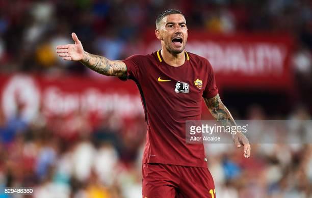 Aleksandar Kolarov of AS Roma reacts during a Pre Season Friendly match between Sevilla FC and AS Roma at Estadio Ramon Sanchez Pizjuan on August 10...