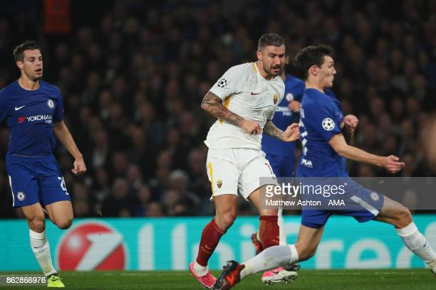 Aleksandar Kolarov of AS Roma scores a goal to make it 21 during the UEFA Champions League group C match between Chelsea FC and AS Roma at Stamford...