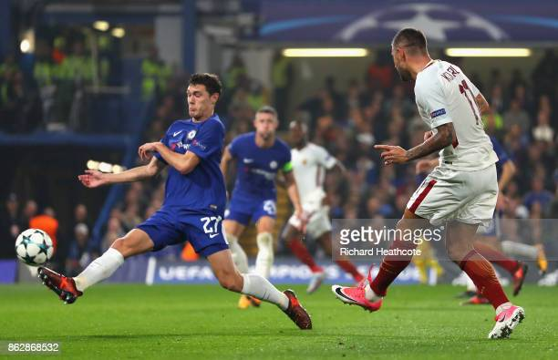 Aleksandar Kolarov of AS Roma scores his sides first goal during the UEFA Champions League group C match between Chelsea FC and AS Roma at Stamford...