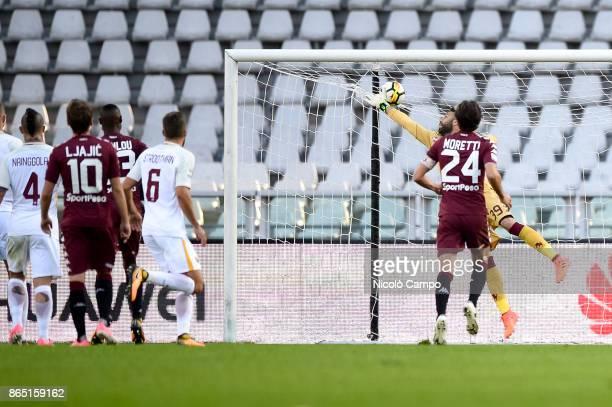 Aleksandar Kolarov of AS Roma scores the winning goal during the Serie A football match between Torino FC and AS Roma AS Roma won 10 over Torino FC
