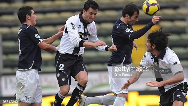 Aleksandar Kolarov of Lazio Christian Panucci of Parma Stefan Radu of Lazio and Alessandro Lucarelli of Parma during the Serie A match between Parma...