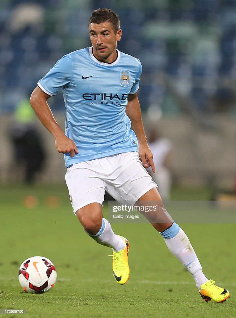 Aleksandar Kolarov of Manchester City during the Nelson Mandela Football Invitational match between AmaZulu and Manchester City at Moses Mabhida Stadium on July 18, 2013 in Durban, South Africa.