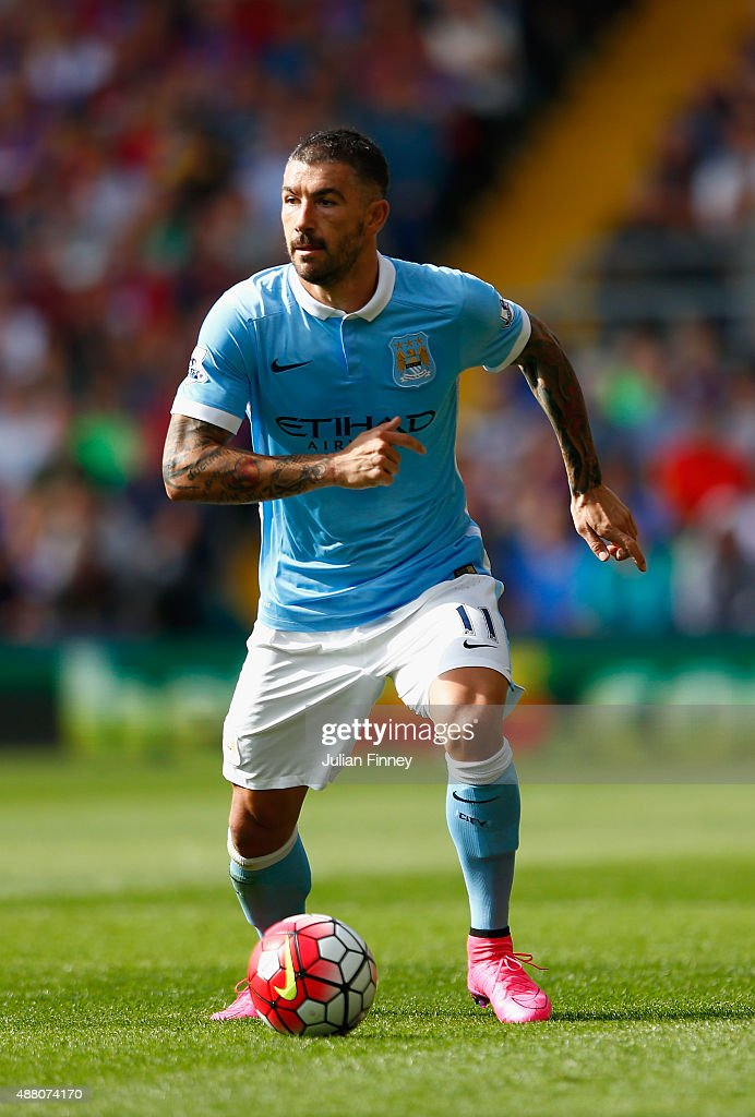 Aleksandar Kolarov of Manchester City in action during the Barclays Premier League match between Crystal Palace and Manchester City at Selhurst Park on September 12, 2015 in London, United Kingdom.