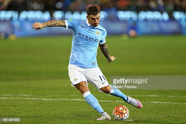 Aleksandar Kolarov of Manchester City kicks the ball during the International Champions Cup friendly match between Manchester City and AS Roma at the...