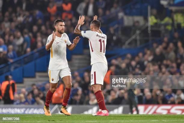 Aleksandar Kolarov of Roma celebrates scoring first goal during the UEFA Champions League match between Chelsea v AS Roma at Stamford Bridge Stadium...
