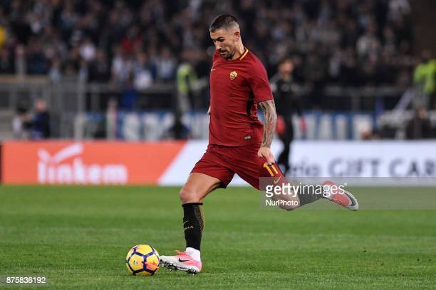 Aleksandar Kolarov of Roma celebrates scoring first goal during the Serie A match between Roma and Lazio at Olympic Stadium Roma Italy on 18 November...