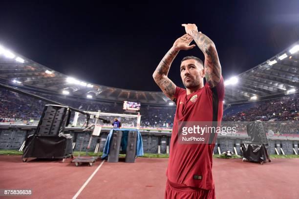 Aleksandar Kolarov of Roma celebrates the victory at the end of the Serie A match between Roma and Lazio at Olympic Stadium Roma Italy on 18 November...