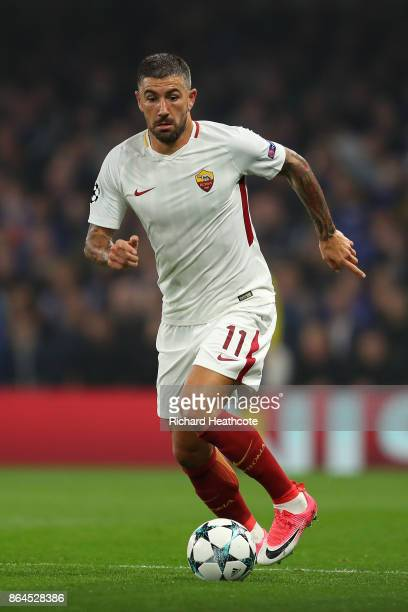Aleksandar Kolarov of Roma during the UEFA Champions League group C match between Chelsea FC and AS Roma at Stamford Bridge on October 18 2017 in...