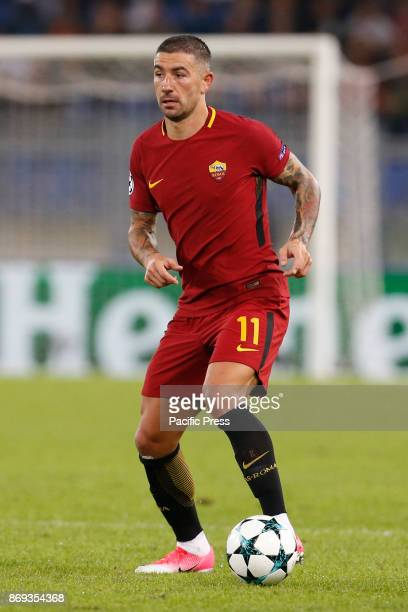 Aleksandar Kolarov of Roma during UEFA Champions League Group C soccer match between AS Roma and Chelsea FC at the Olympic stadium in Rome AS Roma...